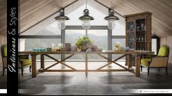 Table rustique 4 mètres en pin recyclé massif finition naturelle