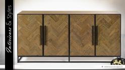 Buffet en enfilade à 4 portes en chêne vieilli et métal 180 cm