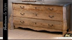 Commode rétro à 3 tiroirs en bois vieilli et plateau de pierre gris ardoise 180 cm