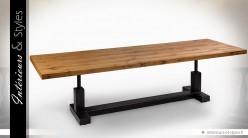 Table de style industriel en chêne massif et métal (3 mètres)