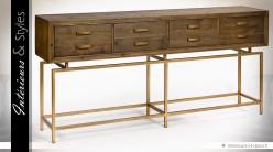 Grande console design industriel bois et métal doré 8 tiroirs 180 cm