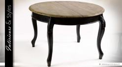 Table de salle à manger extensible coloris noir et bois naturel 220 cm