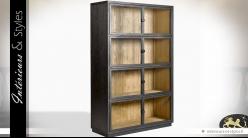 Vitrine en chêne brossé brun foncé à 8 portes vitrées esprit indus 185 cm