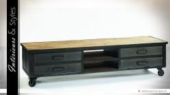 Grand meuble TV de style industriel en bois et métal 180 cm