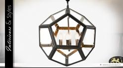 Suspension polyèdre à faces hexagonales en métal noir vieilli Ø 77,5 cm