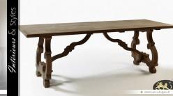 Table de salle à manger en chêne massif gris avec piètement en lyres 230 cm