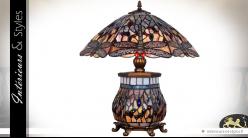 Lampe de style Tiffany Saphirs et libellules 56 cm