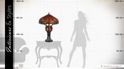 Grande lampe de style Tiffany Libellules de feu 83 cm
