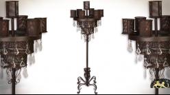 Grand chandelier sur pied métal effet fer forgé 7 supports 141 cm