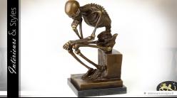 Sculpture sur bronze Le Penseur réinterprétation version squelette 24,6 cm