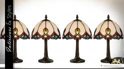 Série de 4 lampes de style Tiffany Ivana 33 cm - Ø 21 cm