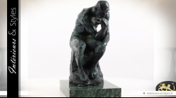 Sculpture en bronze avec socle en marbre : le Penseur de Rodin 37,3 cm