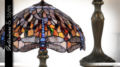 Lampe Tiffany Les libellules dôme 42 cm pied en métal finition bronze 62 cm