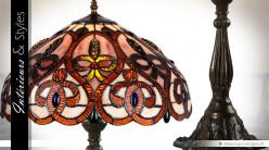 Grande lampe Tiffany Ambre et Or 60 cm  - Ø 42 cm