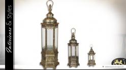 Série de trois lanternes hexagonales luxueuses en laiton et étain 132 cm