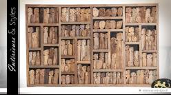 Panneau décoratif mural artisanal en bois exotique 1,62 x 1,02 mètre