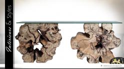 Grande console sur larges billots de bois exotique plateau verre 200 cm