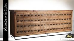 Meuble bar comptoir de style industriel en pin recyclé et métal 250 cm