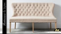 Canapé banquette tissu coloris lin écru capitonnage et bois massif 166 cm