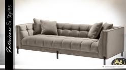 Canapé matelassé en velours soyeux grège 3 places design Eichholtz 231 cm
