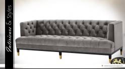 Canapé 3 places velours capitonné gris cendré | Eichholtz Castelle 230 cm