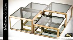 Set de 4 tables basses finition laiton doré verre fumé et miroir