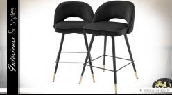 Duo de tabourets de bar velours gris et similicuir noir 92 cm