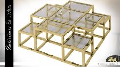 Table basse design multi-niveaux et multi-plateaux inox poli doré brillant 120 x 120 cm
