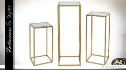 Set de 3 sellettes design en acier inoxydable poli doré et verre teinté 110 cm