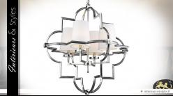 Suspension luminaire design à 4 feux finition argent brillant, 93cm