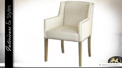 Chaise fauteuil habillage tissu lin écru accoudoirs et dossier à oreilles
