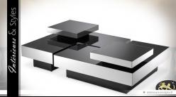Table basse ultra-design modulaire noir et argent (4 éléments)