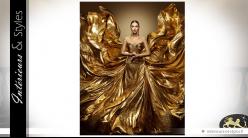 Tableau artistique avec impression pigmentée or sur toile Gold Lady (3 mètres)