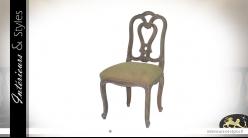 Chaise de salle à manger en bois sculpté cérusé blanc, assise en coton lin foncé