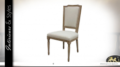 Chaise de salle à manger en bois blanchi, assise en coton finition lin