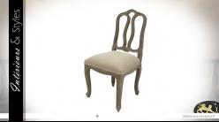 Chaise de salle à manger en bois et assise en coton épais finition lin, dossier sculpté