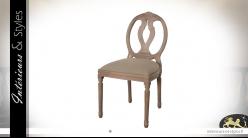 Chaise médaillon en bois sculpté, assise finition lin et dossier arrondi