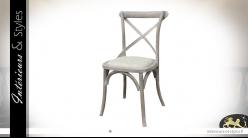 Chaise de bistrot en bois et métal, dossier croisé et assise en toile de lin, finition blanchie