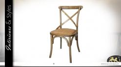 Chaise de bistrot inspirée Thonet, en bois et métal, assise en toile de lin, finition naturelle