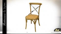 Chaise moderne en bois et métal ambiance bistrot, constrastée, modèle insipiré Thonet