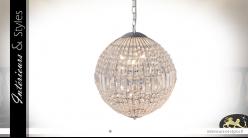 Lustre sphérique 12 feux, en verre et métal chromé argent, Ø40cm