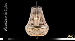 Lustre Montgolfière 12 feux, Ø60cm, en verre transprent et métal chromé argent