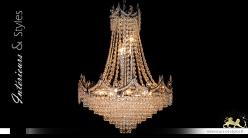 Lustre Montgolfière 12 feux, Ø50cm, en métal chromé argent et verre, couronne de lumière