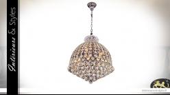 Lustre 12 feux de Ø48cm, ossature en métal chromé et sphères de verre multifacettes