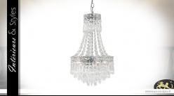 Lustre Montgolfière 4 feux, Ø30cm, en verre  transparent et métal chromé argent