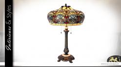 Lampe Tiffany Ø47cm / 71 cm, en métal - marbre et verre, forme de cloche colorée à deux feux