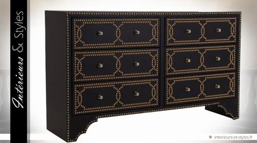 Commode noire et or à 6 tiroirs finition similicuir et laiton doré