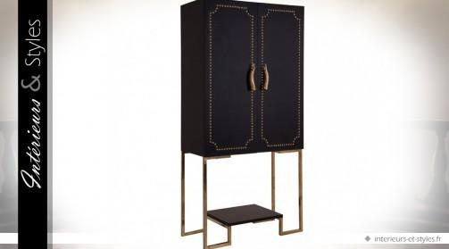 Buffet meuble bar design noir en similicuir et métal doré