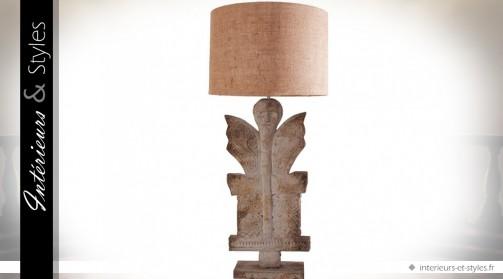 Lampe de salon sculpture en manguier et abat-jour en jute 75 cm